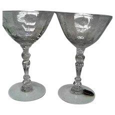 Two Fostoria Chintz Crystal Cocktail Goblets Stemware