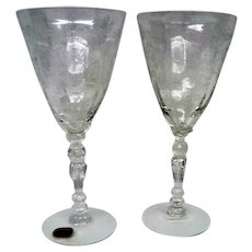 Two Fostoria Elegant Crystal Chintz Water Goblets Stemware