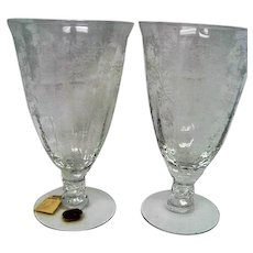 Two Fostoria Elegant Crystal Chintz Footed Ice Tea Goblets Stemware