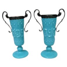 Pair French Blue Opaline Footed Glass Vases