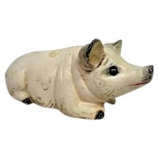 Cast Iron White Painted Pig Bank