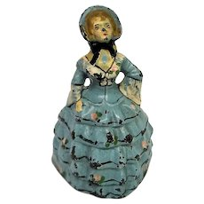 Cast Iron Woman in Blue Gown Painted Door Stop