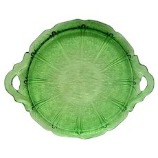 Green Cherry Blossom Two Handled Depression Glass Tray