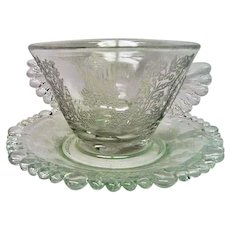 Paden City Elegant Depression Glass Gazebo Crystal Mayonnaise and Under Plate