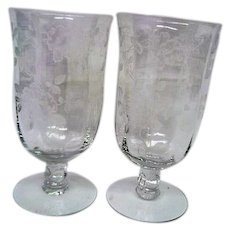 Two Heisey Elegant Depression Footed Rose Water Goblets