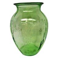 Green Depression Glass Cameo Ballerina Large Vase