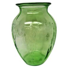 Green Depression Glass Cameo Ballerina Large Vase