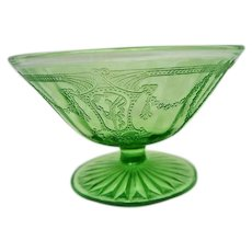 Green Depression Glass Footed Cameo Ballerina Comport or Mayonnaise
