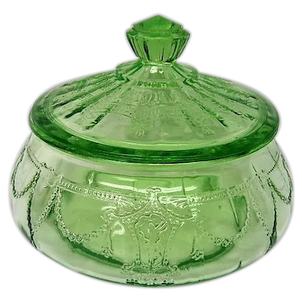 Green Depression Glass Cameo Ballerina Covered Candy