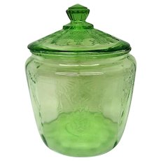 Green Depression Glass Covered Cameo Ballerina Cookie Jar