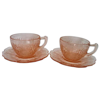 Two Pink Depression Glass Cherry Blossom Cups and Saucers