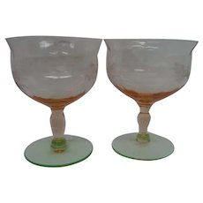 Two Watermelon Footed Depression Glass Etched Fry Sherbets