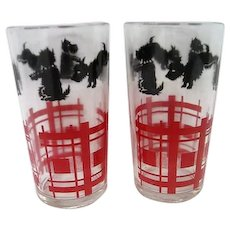 Two Scottie Scotty Dog Glass Tumblers
