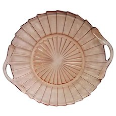Pink Depression Glass Sierra Two Handled Tray