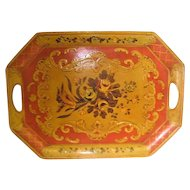 Hand Painted Japanese Two Handled Paper Mache Tray