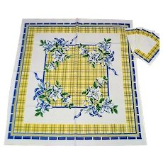 Vintage Blue and Yellow Cotton Luncheon Tablecloth with Napkins