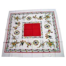 NEVER USED Red and Yellow Vintage Tablecloth