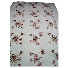 Pink and Red Tea Roses Vintage LARGE Tablecloth