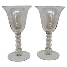 Two Crystal Candlewick Wine Goblets