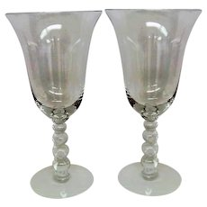 Two Crystal Candlewick Water Goblets