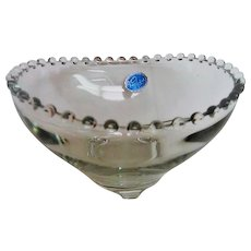 RARE Three Toed Crystal Candlewick Bowl