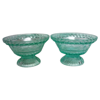 Two EAPG Apple Green Wildflower Footed Sauce Dishes
