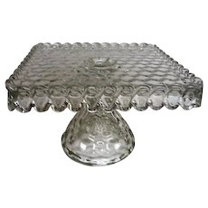 Crystal Fostoria American Pattern Square Cake Stand