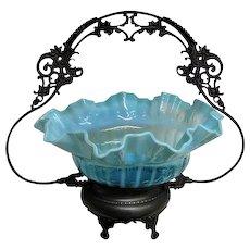 Stunning Brides Basket Blue glass basket silver plated holder