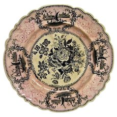English Pink and Black Transferware Floral Plate