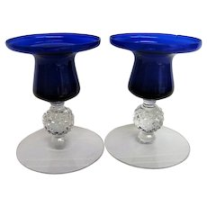 Pair Ritz Blue Morgantown Golf Ball Footed Candlesticks Candle Holders