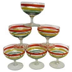 Six Colorful Ring Depression Glass Sherbets