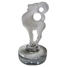 Frosted Signed Lalique Ram on Pedestal