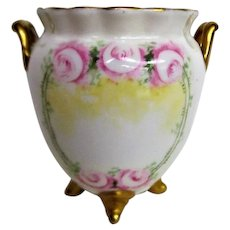 Hand Painted Rose Limoges Footed Handled Vase