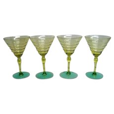 Four Elegant Depression Glass Yellow and Green Footed Goblets