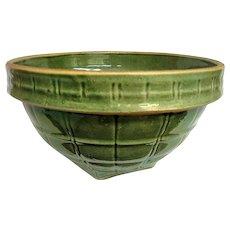 McCoy Green Glazed Yellow Ware Window Pane Mixing Bowl