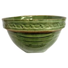 McCoy Green Glazed Yellow Ware Sunrise Mixing Bowl