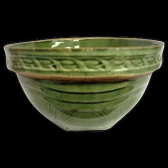 McCoy Green Glazed Yellow Ware Sunrise Mixing Bowl