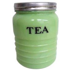 Vintage Jeannette Jadeite Tea Jar canister  original Lid