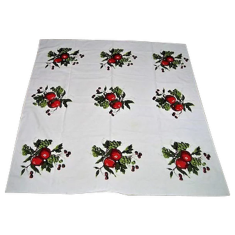 1950 Printed Apples, Grapes, Cherries Tablecloth