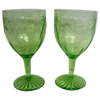 Two Green Cameo Ballerina Footed Water Goblets
