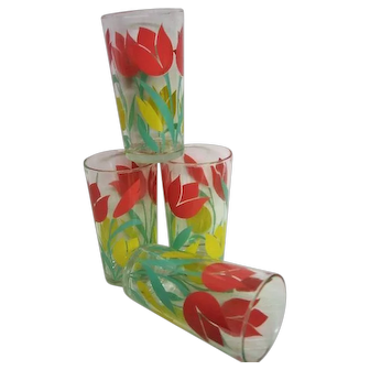 Four Pink and Yellow Tulip Water Tumblers