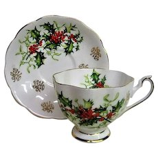 Yuletide Holiday Queen Anne Cup and Saucer