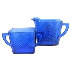 Cobalt Blue Chevron Depression Glass Cream and Sugar
