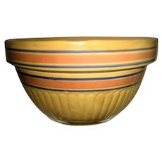 Large Yellow Ware Pink and Blue Band Mixing Bowl