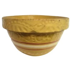 Yellow Ware Brown and White Band Mixing Bowl