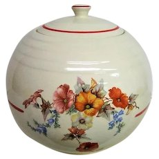 Universal Pottery Floral and Red Trim Cookie Jar