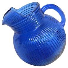 Cobalt Blue Fine Rib Depression Glass Tilted Pitcher