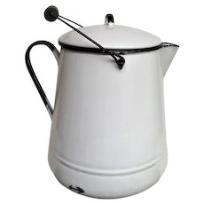 Huge White  Enameled Metal Hot Water Pot