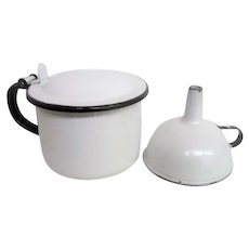 Enameled Metal White  Covered Cup and White Funnel