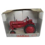 Red Farmall Super-AV Toy Tractor in its original box